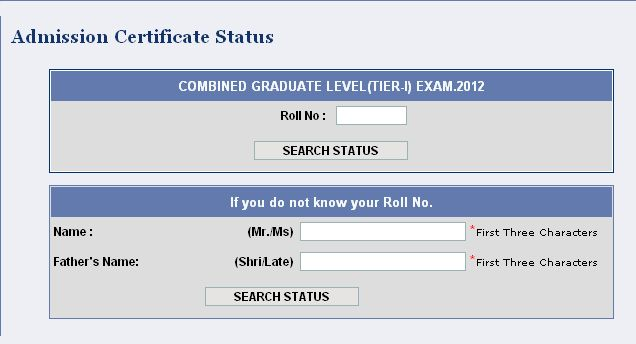 Admit card of SSC CPO SI Exam - 2014 2015 MBA
