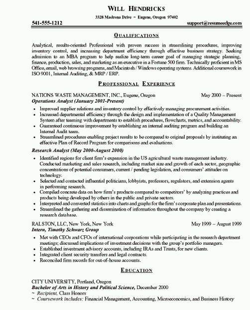 Mba Resume Format | Resume Format And Resume Maker