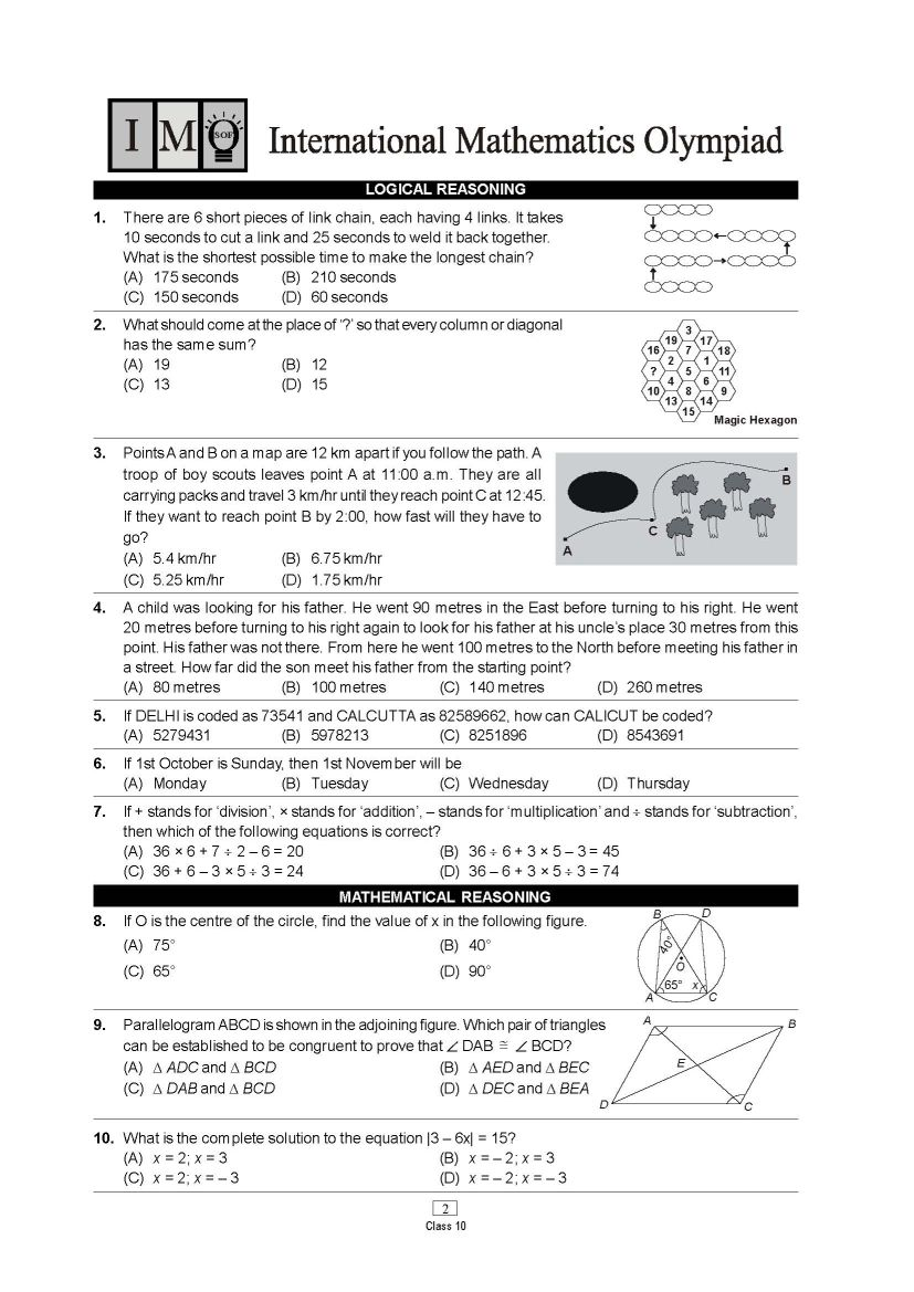 Olympiad Class 10th Science Previous Years Question Paper - 2018