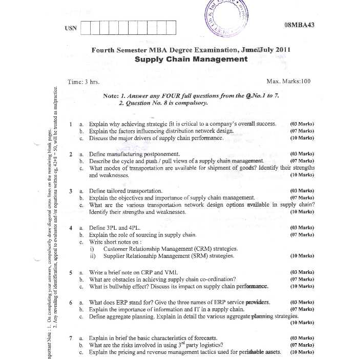 Supply Chain Management VTU Question Papers - 2018 2019 MBA