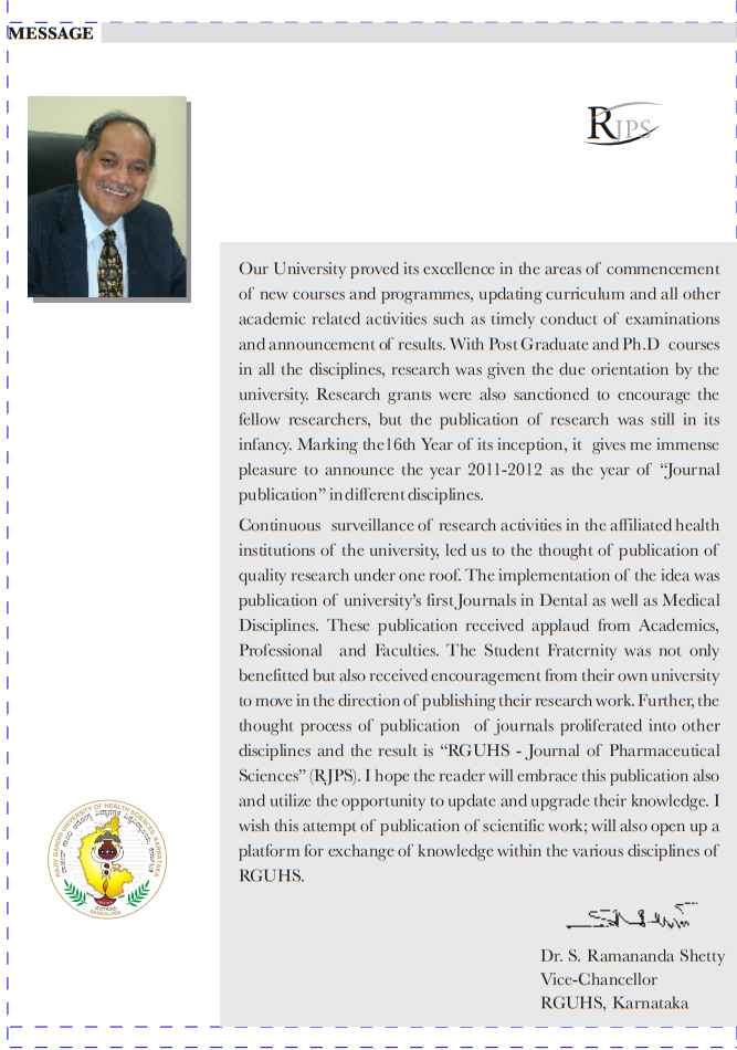 RGUHS Journal Of Pharmaceutical Sciences Impact Factor - 2018 2019 MBA
