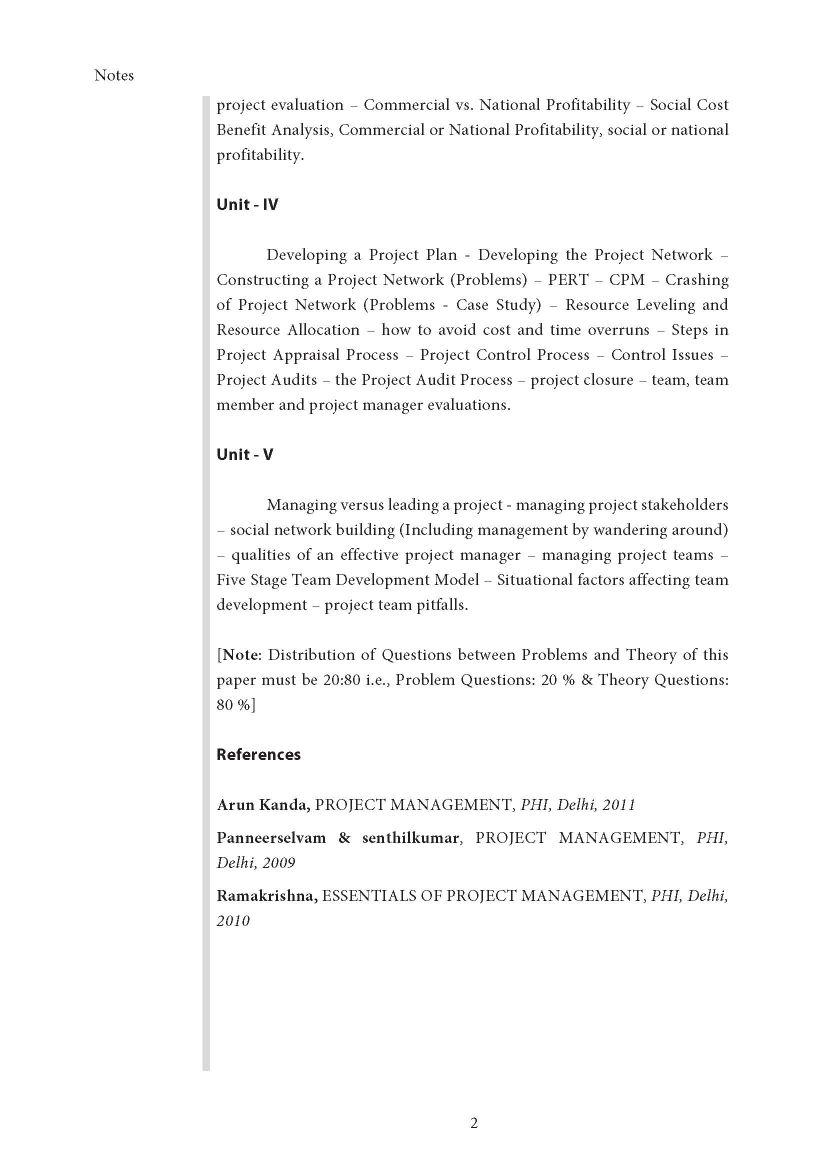 Project Management Question Paper Pdf