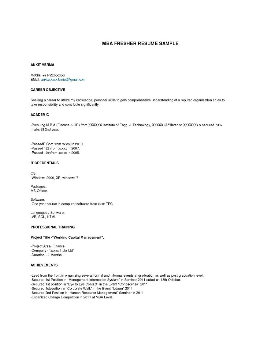 Resume Format For Freshers Mba Finance Free Download ...