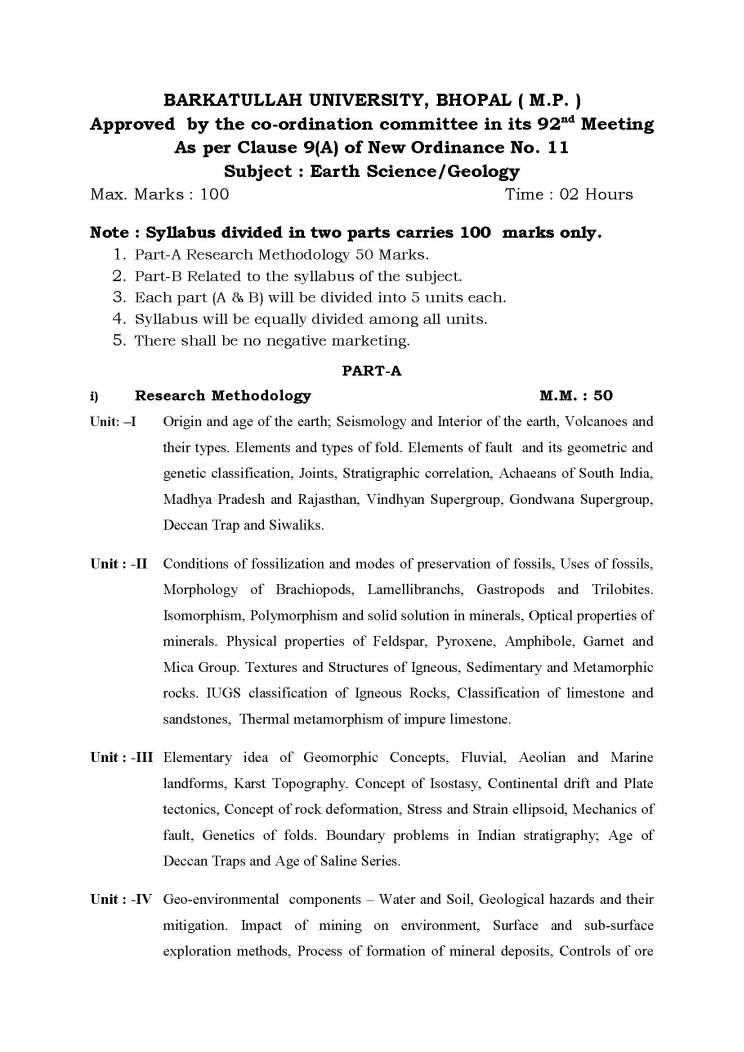 phd course work syllabus geology
