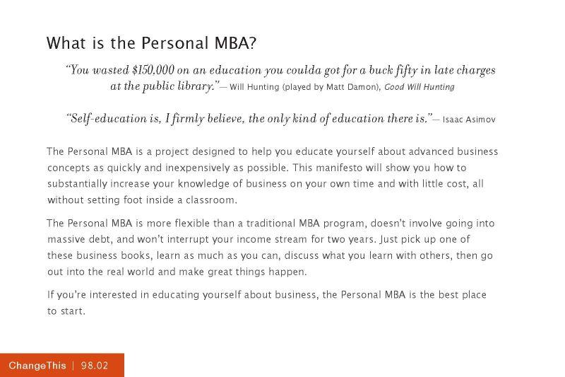 The Personal MBA Josh Kaufman PDF Download - 2018 2019 MBA