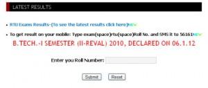 RTU revaluation Result B.Tech.-I Semester