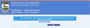 University of Madras DDE MBA result